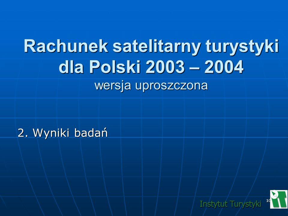 10 2. Wyniki badań Rachunek satelitarny turystyki dla Polski 2003 – 2004 wersja uproszczona Instytut Turystyki