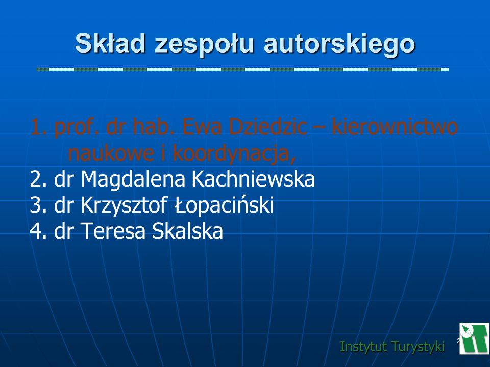 2 Skład zespołu autorskiego 1. 1.prof. dr hab. Ewa Dziedzic – kierownictwo naukowe i koordynacja, 2. 2.dr Magdalena Kachniewska 3. 3.dr Krzysztof Łopa