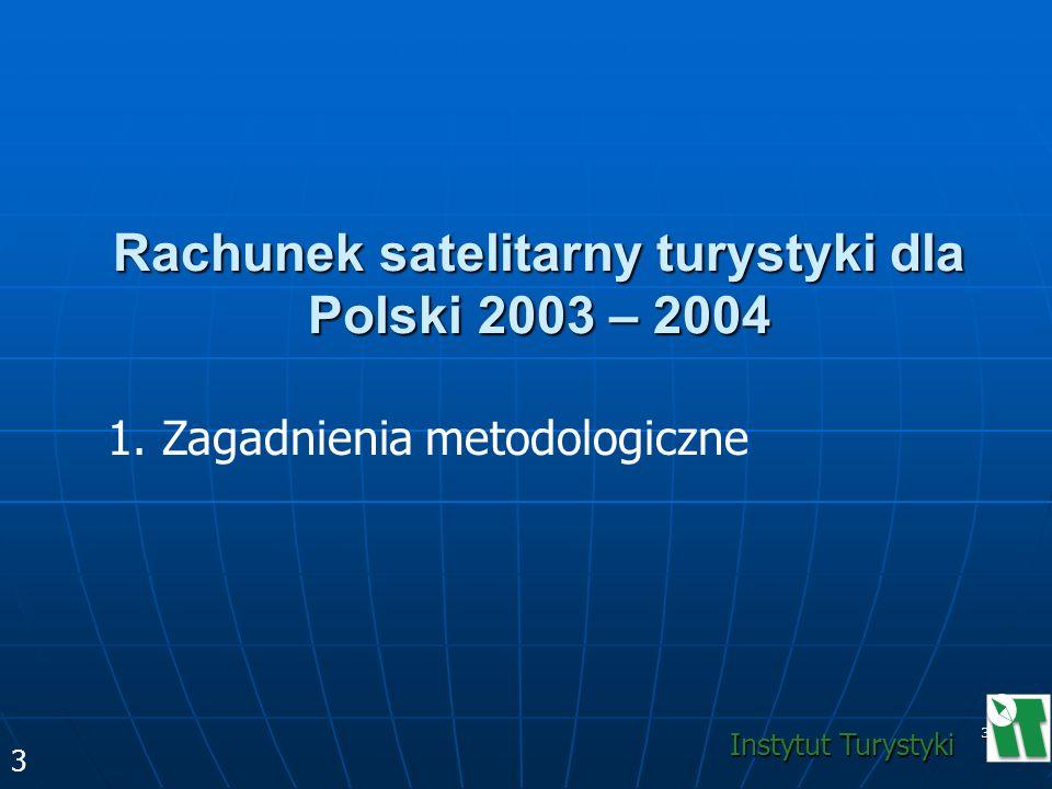 3 Rachunek satelitarny turystyki dla Polski 2003 – 2004 1. Zagadnienia metodologiczne 3 Instytut Turystyki
