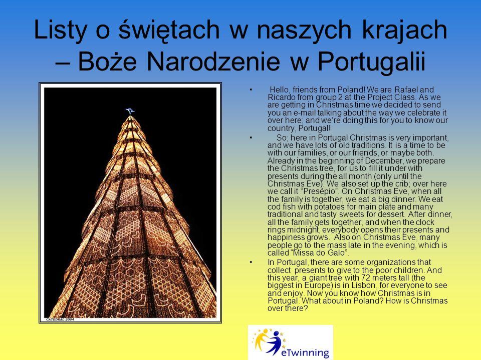 Listy o świętach w naszych krajach – Boże Narodzenie w Portugalii Hello, friends from Poland.