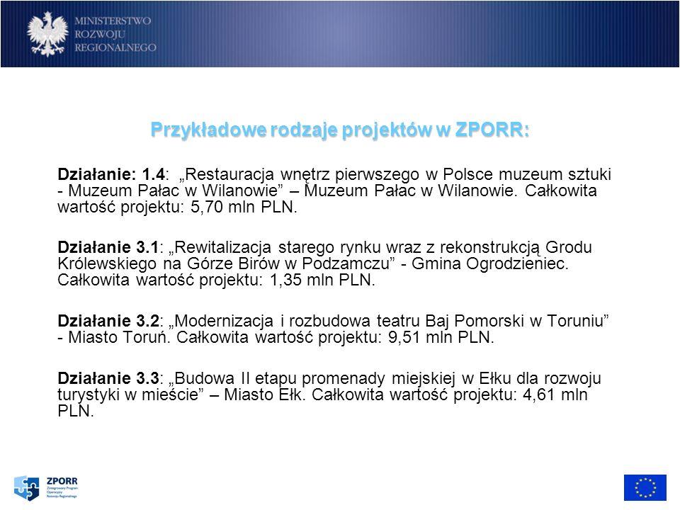 Przykładowe rodzaje projektów w ZPORR: Działanie: 1.4: Restauracja wnętrz pierwszego w Polsce muzeum sztuki - Muzeum Pałac w Wilanowie – Muzeum Pałac