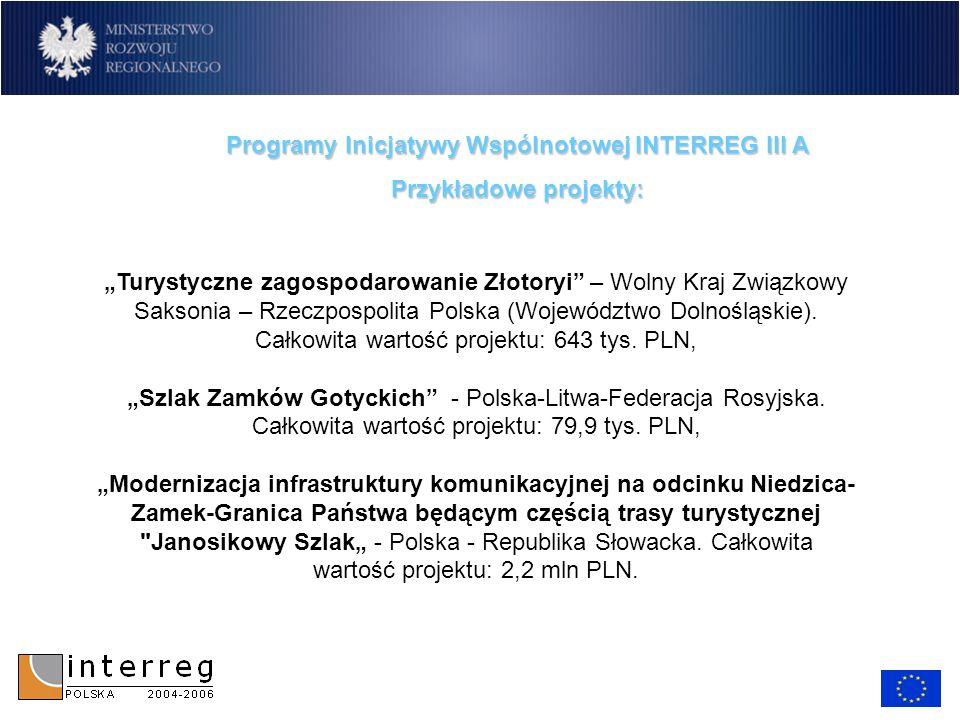 Programy Inicjatywy Wspólnotowej INTERREG III A Przykładowe projekty: Turystyczne zagospodarowanie Złotoryi – Wolny Kraj Związkowy Saksonia – Rzeczpos