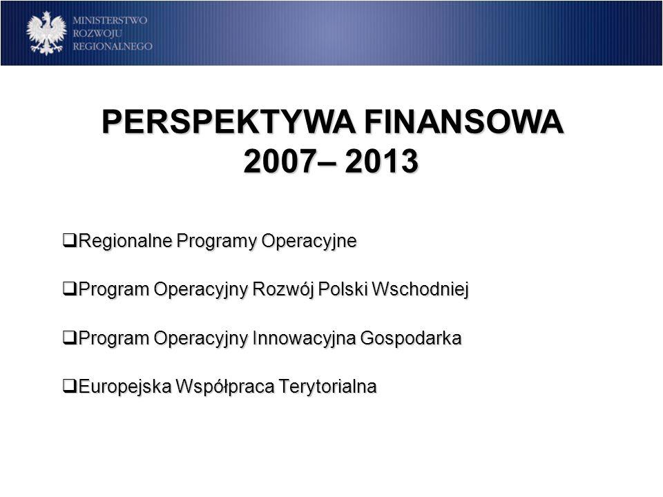 PERSPEKTYWA FINANSOWA 2007– 2013 Regionalne Programy Operacyjne Regionalne Programy Operacyjne Program Operacyjny Rozwój Polski Wschodniej Program Ope