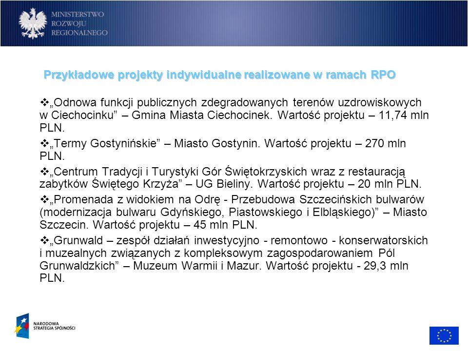 Przykładowe projekty indywidualne realizowane w ramach RPO Odnowa funkcji publicznych zdegradowanych terenów uzdrowiskowych w Ciechocinku – Gmina Mias