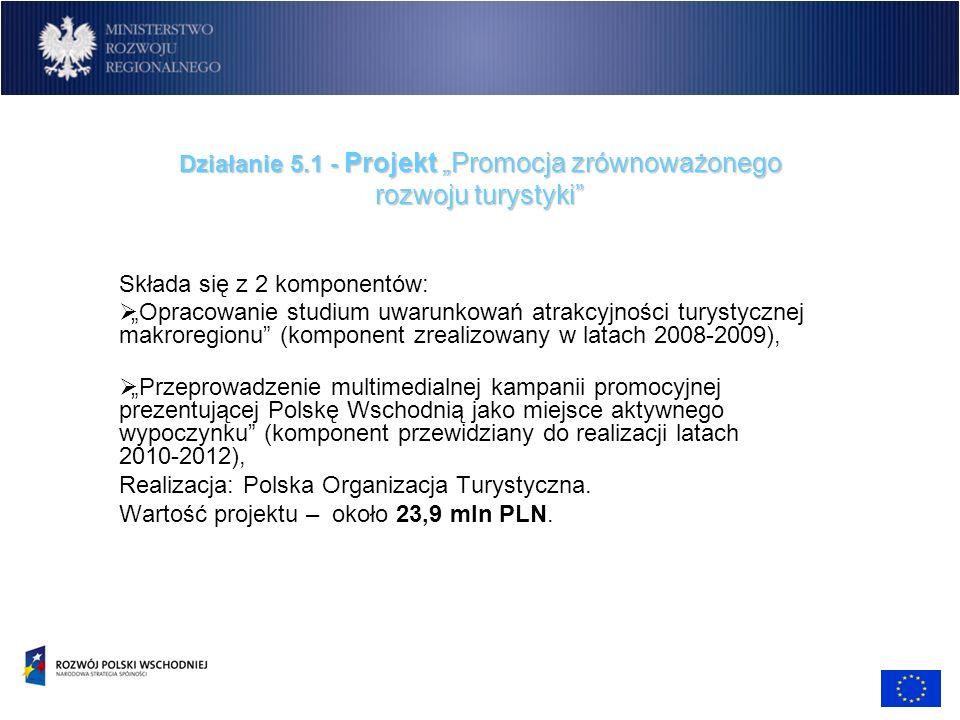 Działanie 5.1 - Projekt Promocja zrównoważonego rozwoju turystyki Składa się z 2 komponentów: Opracowanie studium uwarunkowań atrakcyjności turystyczn