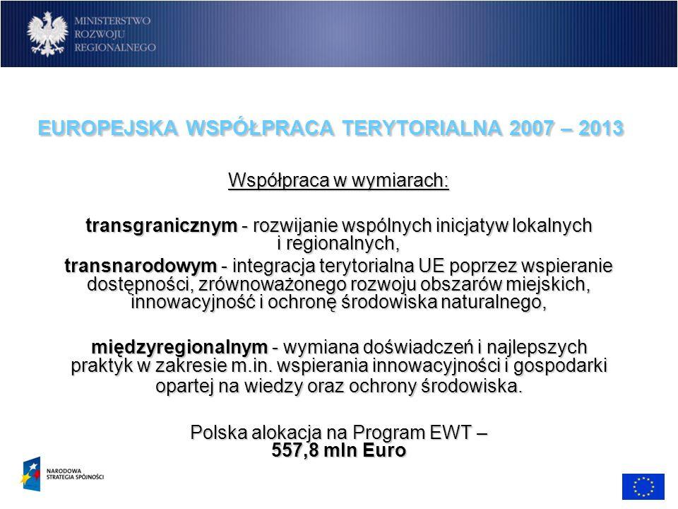 EUROPEJSKA WSPÓŁPRACA TERYTORIALNA 2007 – 2013 Współpraca w wymiarach: transgranicznym - rozwijanie wspólnych inicjatyw lokalnych i regionalnych, tran