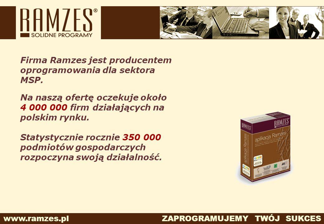 www.ramzes.pl ZAPROGRAMUJEMY TWÓJ SUKCES Firma Ramzes jest producentem oprogramowania dla sektora MSP. Na naszą ofertę oczekuje około 4 000 000 firm d