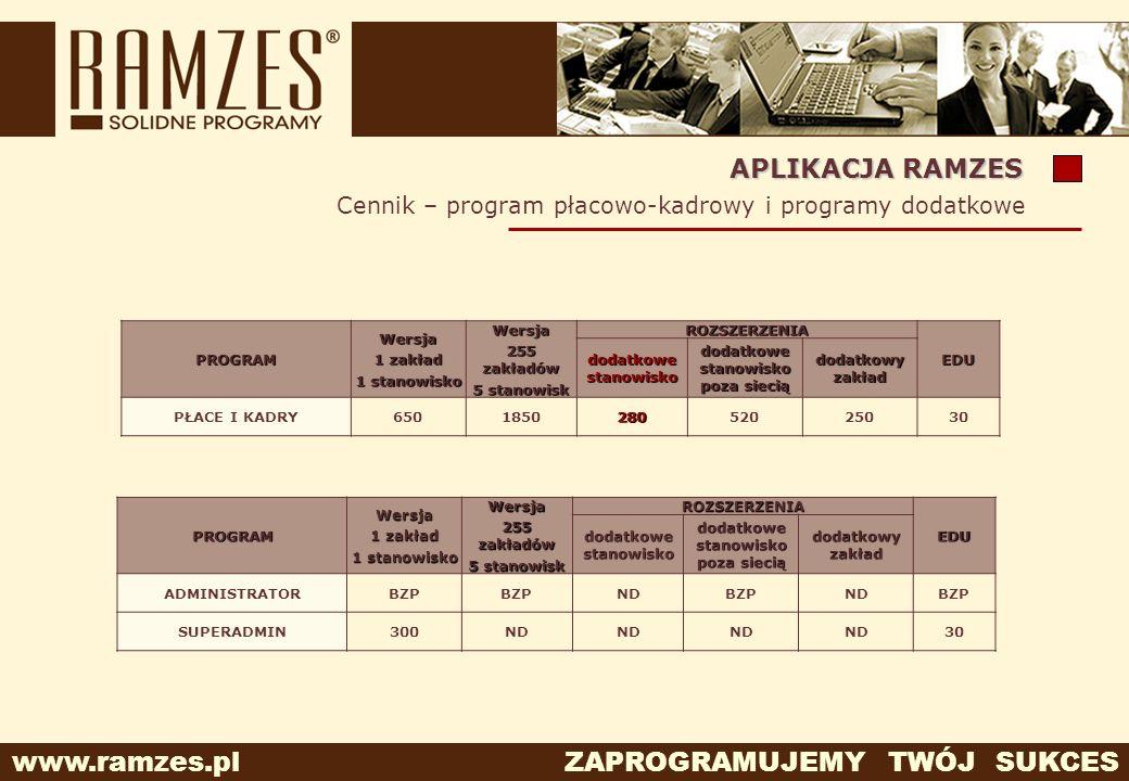 www.ramzes.pl ZAPROGRAMUJEMY TWÓJ SUKCES APLIKACJA RAMZES PROGRAMWersja 1 zakład 1 stanowisko Wersja 255 zakładów 5 stanowisk ROZSZERZENIA EDU dodatko