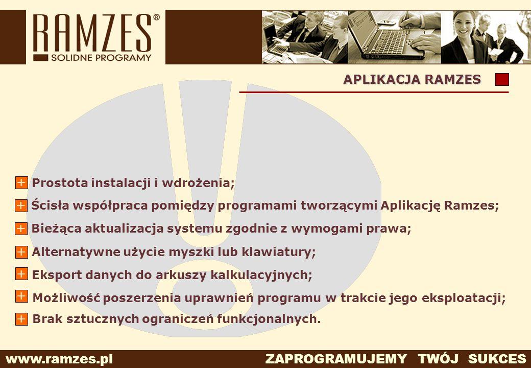 www.ramzes.pl ZAPROGRAMUJEMY TWÓJ SUKCES APLIKACJA RAMZES Eksport danych do arkuszy kalkulacyjnych; + Możliwość poszerzenia uprawnień programu w trakc