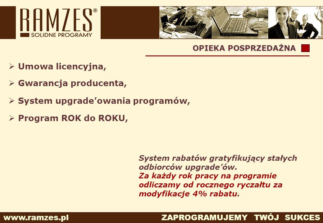 www.ramzes.pl ZAPROGRAMUJEMY TWÓJ SUKCES System rabatów gratyfikujący stałych odbiorców upgradeów. Za każdy rok pracy na programie odliczamy od roczne
