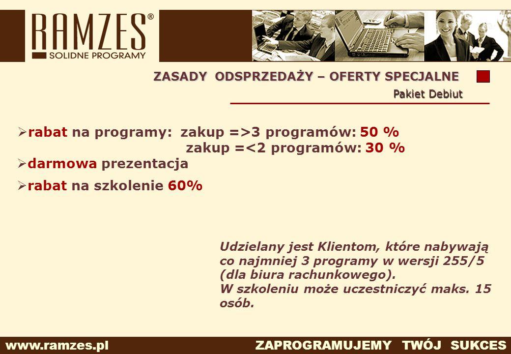 www.ramzes.pl ZAPROGRAMUJEMY TWÓJ SUKCES Udzielany jest Klientom, które nabywają co najmniej 3 programy w wersji 255/5 (dla biura rachunkowego). W szk