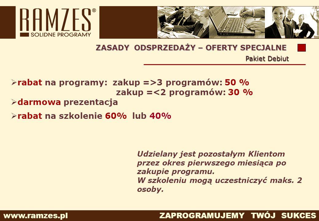 www.ramzes.pl ZAPROGRAMUJEMY TWÓJ SUKCES Udzielany jest pozostałym Klientom przez okres pierwszego miesiąca po zakupie programu. W szkoleniu mogą ucze