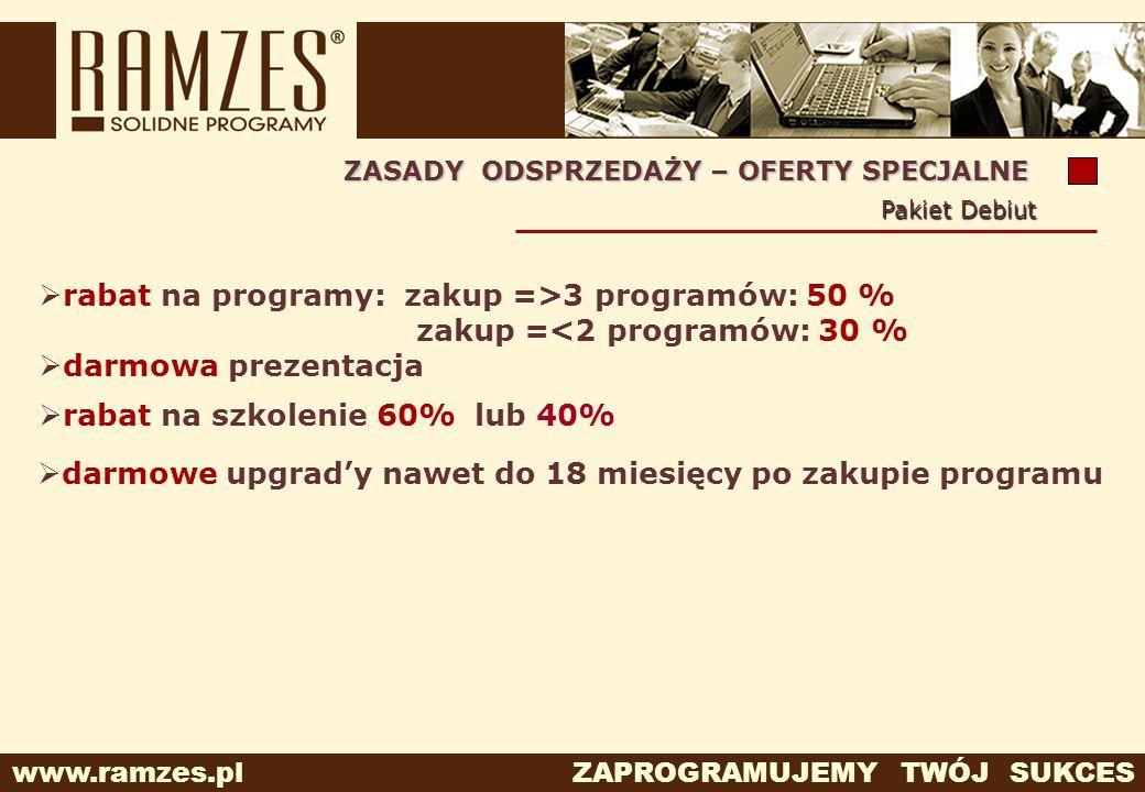 www.ramzes.pl ZAPROGRAMUJEMY TWÓJ SUKCES ZASADY ODSPRZEDAŻY – OFERTY SPECJALNE Pakiet Debiut rabat na programy: zakup =>3 programów: 50 % zakup =<2 pr