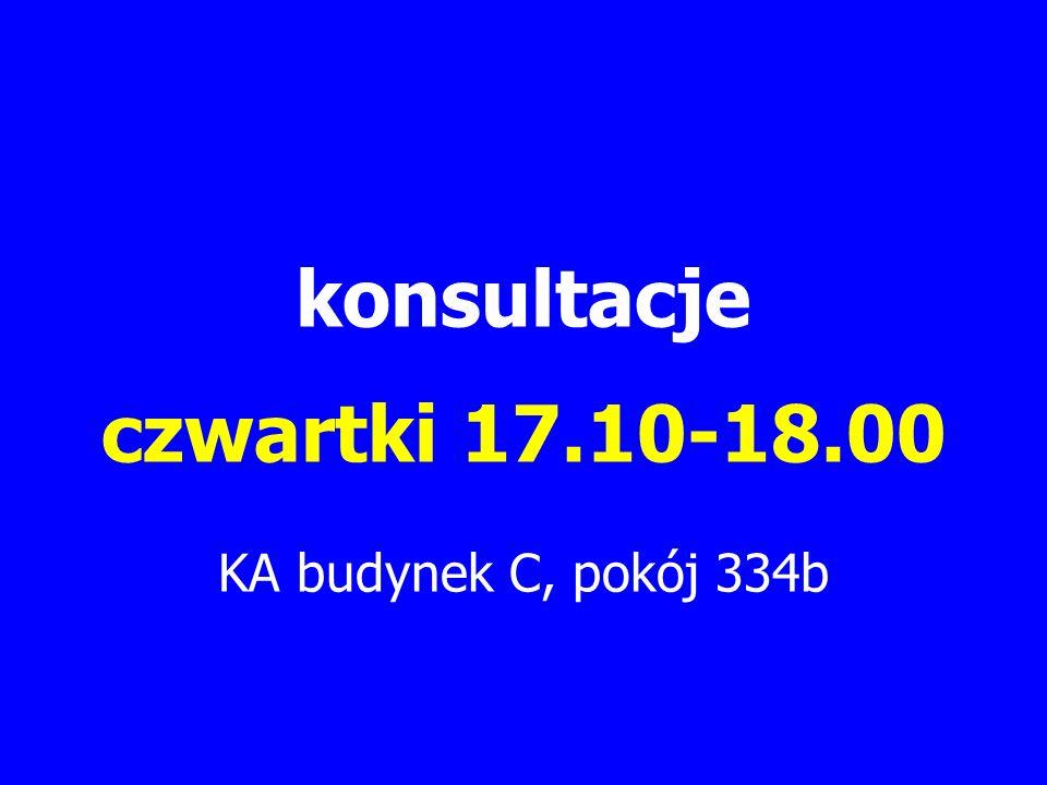 konsultacje czwartki 17.10-18.00 KA budynek C, pokój 334b