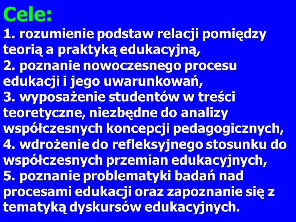 Cele: 1. rozumienie podstaw relacji pomiędzy teorią a praktyką edukacyjną, 2. poznanie nowoczesnego procesu edukacji i jego uwarunkowań, 3. wyposażeni