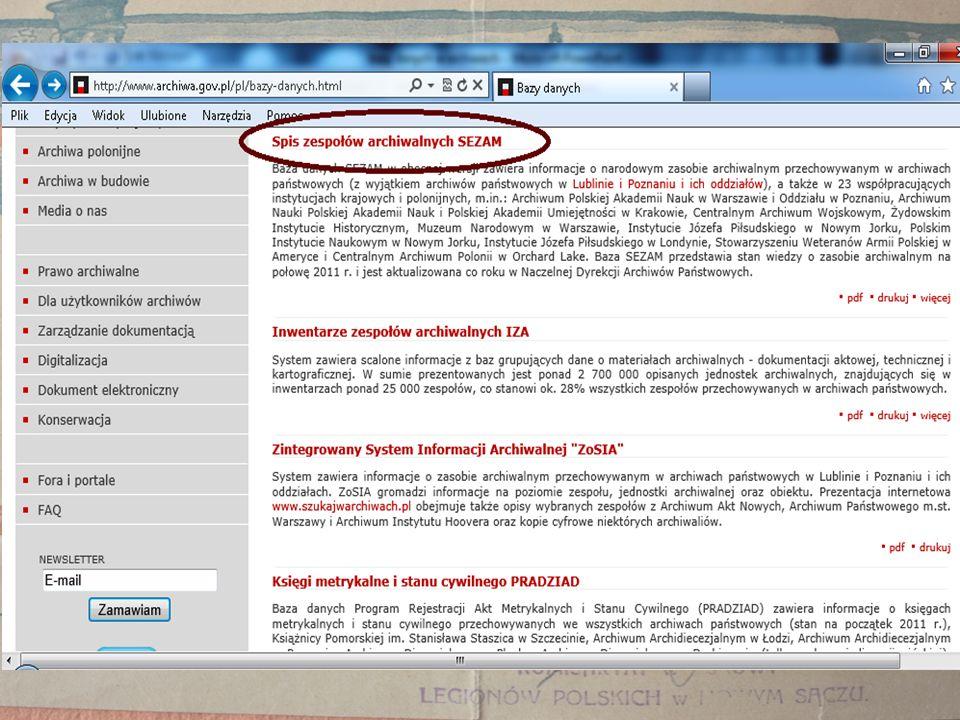 Jeżeli wybierzemy z listy dane archiwum (przykładowo Archiwum Państwowe w Krakowie Oddział w Nowym Sączu - nr 31) i klikniemy na pole szukaj bez określenia w polach do wyszukiwania nazwy zespołu/zbioru archiwalnego, to wtedy rozwinie się lista wszystkich zespołów/zbiorów archiwalnych przechowywanych w tym Oddziale.
