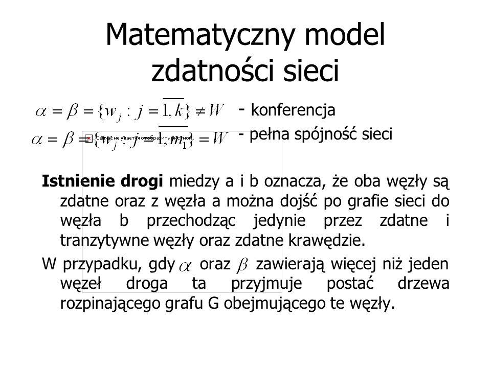 Matematyczny model zdatności sieci - konferencja - pełna spójność sieci Istnienie drogi miedzy a i b oznacza, że oba węzły są zdatne oraz z węzła a mo