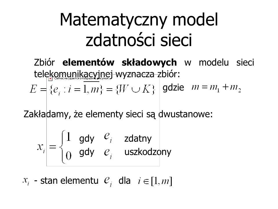 Matematyczny model zdatności sieci Zbiór elementów składowych w modelu sieci telekomunikacyjnej wyznacza zbiór: gdzie Zakładamy, że elementy sieci są