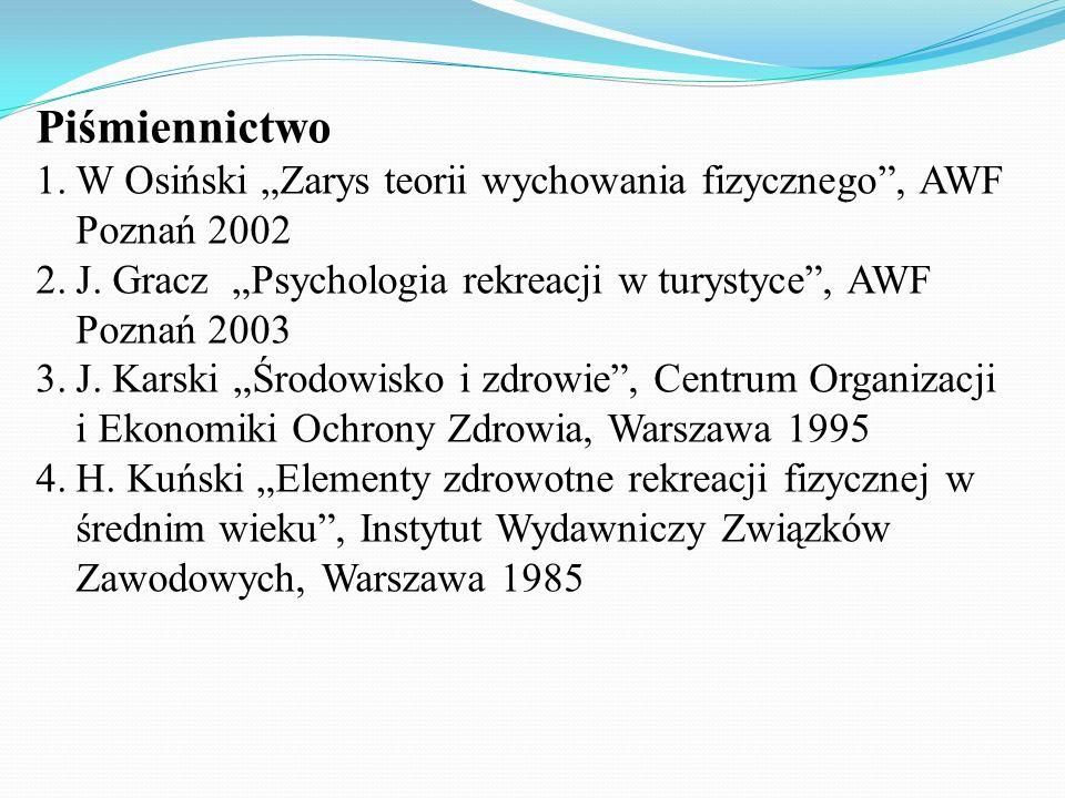Piśmiennictwo 1.W Osiński Zarys teorii wychowania fizycznego, AWF Poznań 2002 2.J. Gracz Psychologia rekreacji w turystyce, AWF Poznań 2003 3.J. Karsk
