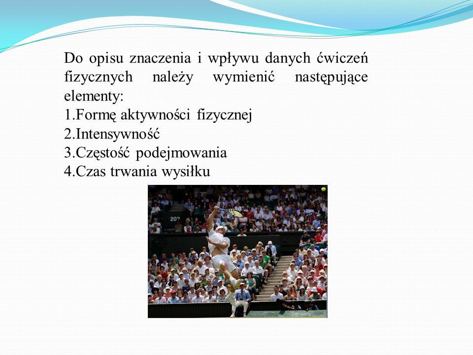 Do opisu znaczenia i wpływu danych ćwiczeń fizycznych należy wymienić następujące elementy: 1.Formę aktywności fizycznej 2.Intensywność 3.Częstość pod