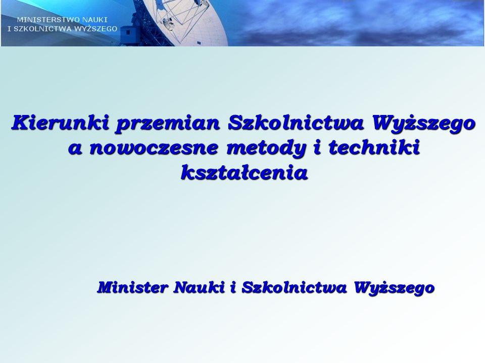 Założenia do reformy Ustawy Prawo o szkolnictwie wyższym – wybrane aspekty: poprawa jakości kształcenia, lepsze wykorzystanie potencjału badawczego i dydaktycznego polskich uczelni, integracja uczelni z otoczeniem społeczno-gospodarczym – tworzenie regionów wiedzy.