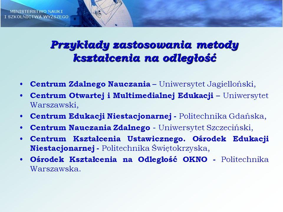 Przykłady zastosowania metody kształcenia na odległość Centrum Zdalnego Nauczania – Uniwersytet Jagielloński, Centrum Otwartej i Multimedialnej Edukac