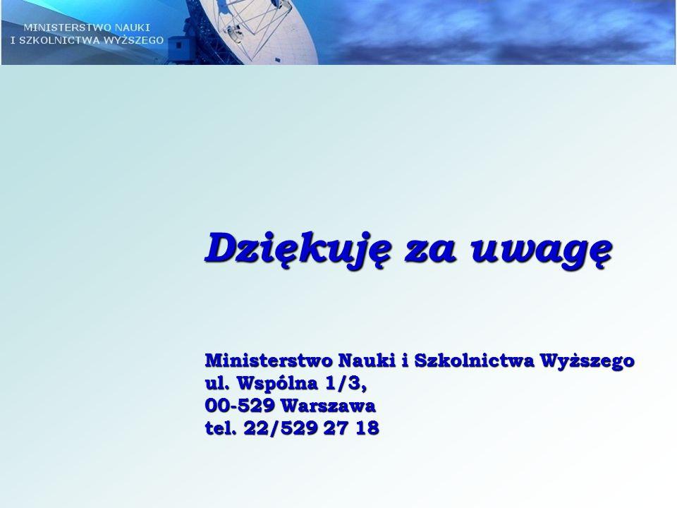 Dziękuję za uwagę Ministerstwo Nauki i Szkolnictwa Wyższego ul. Wspólna 1/3, 00-529 Warszawa tel. 22/529 27 18