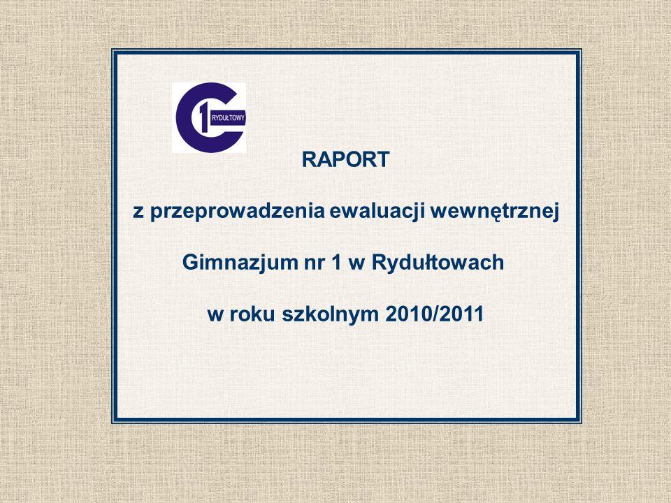 RAPORT z przeprowadzenia ewaluacji wewnętrznej Gimnazjum nr 1 w Rydułtowach w roku szkolnym 2010/2011