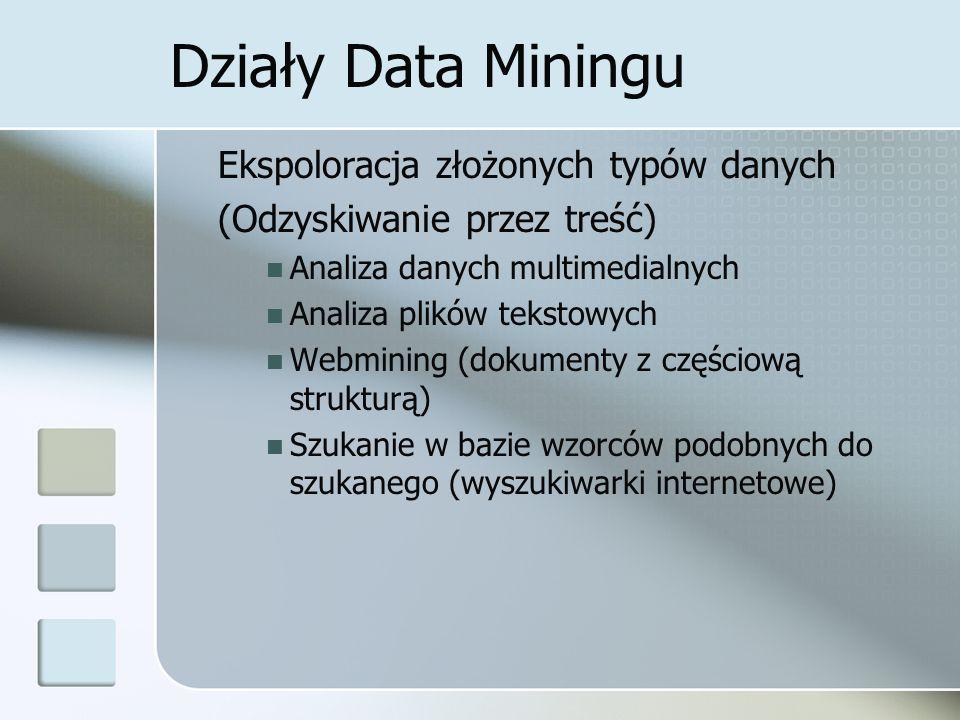 Działy Data Miningu Ekspoloracja złożonych typów danych (Odzyskiwanie przez treść) Analiza danych multimedialnych Analiza plików tekstowych Webmining