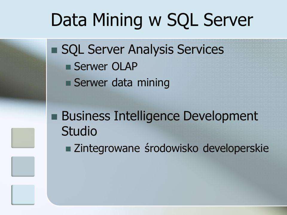 Data Mining w SQL Server SQL Server Analysis Services Serwer OLAP Serwer data mining Business Intelligence Development Studio Zintegrowane środowisko