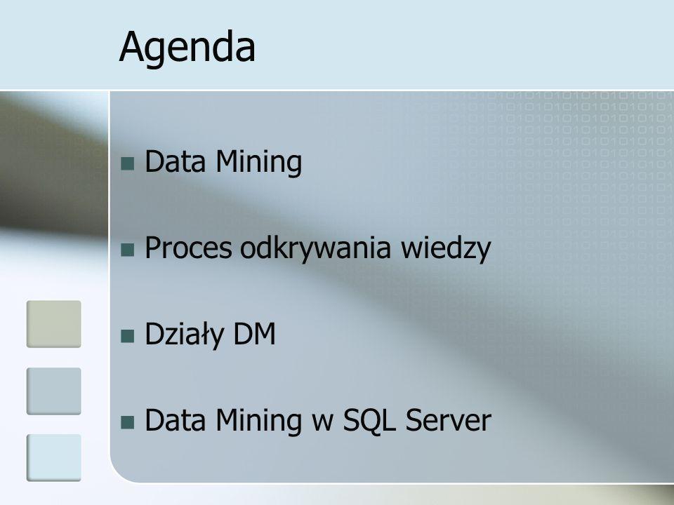 Agenda Data Mining Proces odkrywania wiedzy Działy DM Data Mining w SQL Server