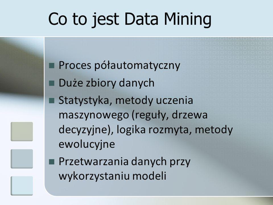 Co to jest Data Mining Proces półautomatyczny Duże zbiory danych Statystyka, metody uczenia maszynowego (reguły, drzewa decyzyjne), logika rozmyta, me