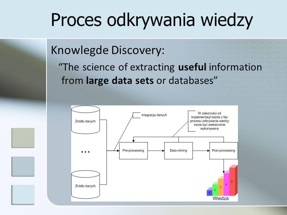 Cechy wiedzy Cechy poszukiwanych informacji Trafnie przewidujące rzeczywistość szukamy największej możliwej zdolności generalizacji Zrozumiałe budowanie ufności (decyzje zarządcze muszą być budowane na danych którym się ufa) zastosowanie reprezentacji wysokiego poziomu IF...
