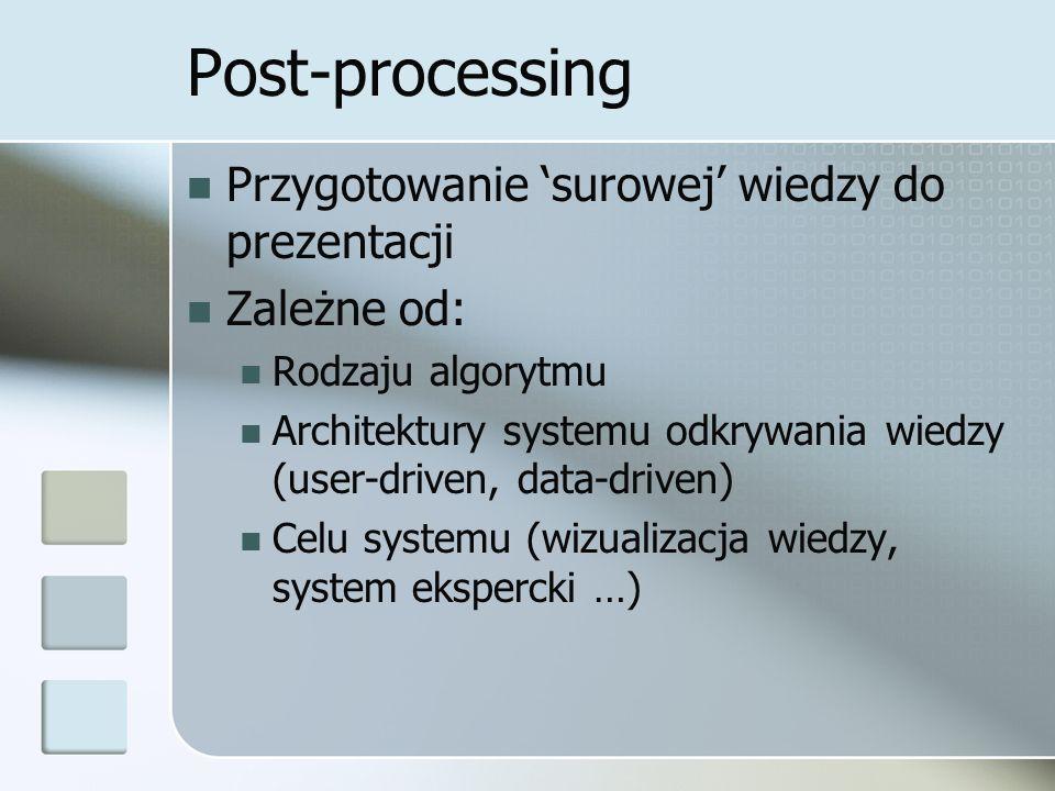 Post-processing Etapy: Filtrowanie wiedzy Usunięcie wiedzy o niskiej jakości Jedna z koncepcji: ograniczenie zbioru do reguł ciekawych Subiektywna – wg użytkownika Obiektywna – oparta na danych Interpretacja Przedstawienie wiedzy w zrozumiałej formie Uzasadnienie wiedzy Testowanie wiedzy Weryfikacja modelu przez zbiór testowy Metoda testowania jest zależna od algorytmu i zadania