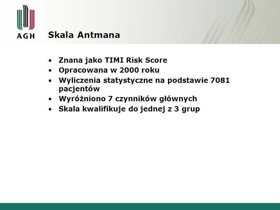 Skala Antmana Znana jako TIMI Risk Score Opracowana w 2000 roku Wyliczenia statystyczne na podstawie 7081 pacjentów Wyróżniono 7 czynników głównych Sk