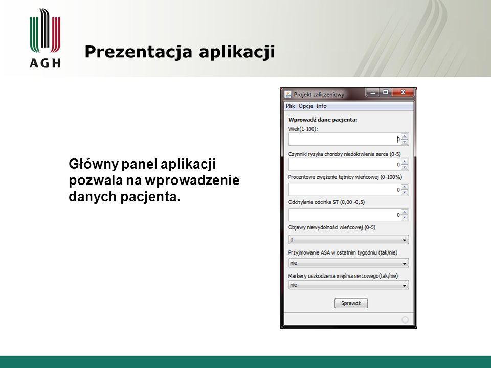 Prezentacja aplikacji Główny panel aplikacji pozwala na wprowadzenie danych pacjenta.