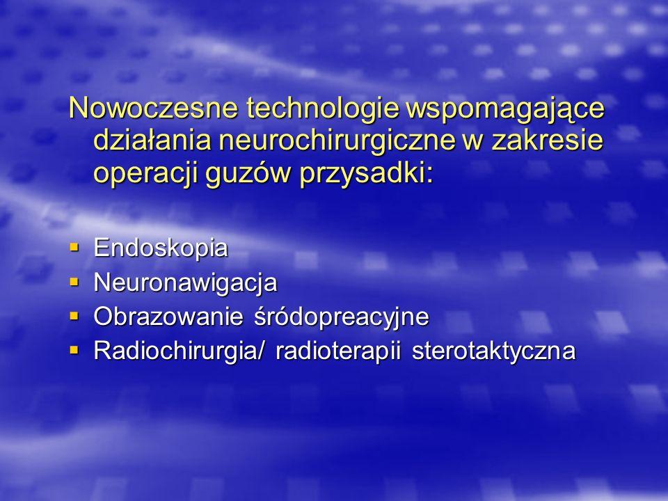 Nowoczesne technologie wspomagające działania neurochirurgiczne w zakresie operacji guzów przysadki: Endoskopia Endoskopia Neuronawigacja Neuronawigac