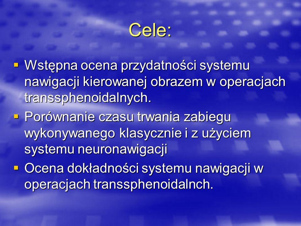 Cele: Wstępna ocena przydatności systemu nawigacji kierowanej obrazem w operacjach transsphenoidalnych. Wstępna ocena przydatności systemu nawigacji k