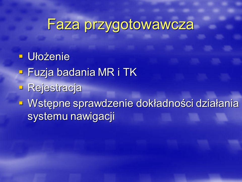 Faza przygotowawcza Ułożenie Ułożenie Fuzja badania MR i TK Fuzja badania MR i TK Rejestracja Rejestracja Wstępne sprawdzenie dokładności działania sy