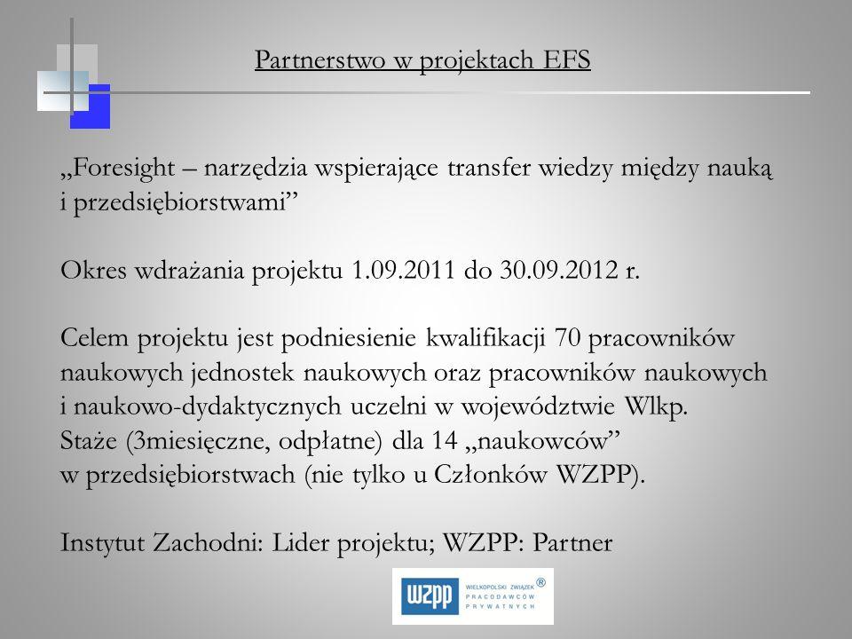 Foresight – narzędzia wspierające transfer wiedzy między nauką i przedsiębiorstwami Okres wdrażania projektu 1.09.2011 do 30.09.2012 r. Celem projektu