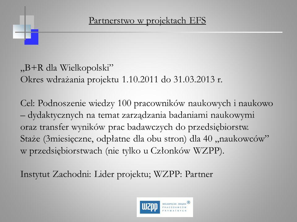 B+R dla Wielkopolski Okres wdrażania projektu 1.10.2011 do 31.03.2013 r. Cel: Podnoszenie wiedzy 100 pracowników naukowych i naukowo – dydaktycznych n