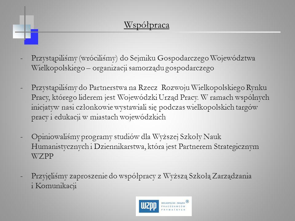 Współpraca -Przystąpiliśmy (wróciliśmy) do Sejmiku Gospodarczego Województwa Wielkopolskiego – organizacji samorządu gospodarczego -Przystąpiliśmy do