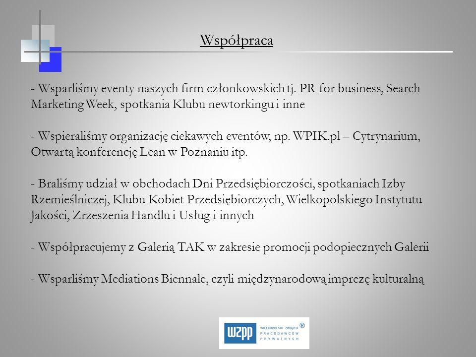 - Wsparliśmy eventy naszych firm członkowskich tj. PR for business, Search Marketing Week, spotkania Klubu newtorkingu i inne - Wspieraliśmy organizac