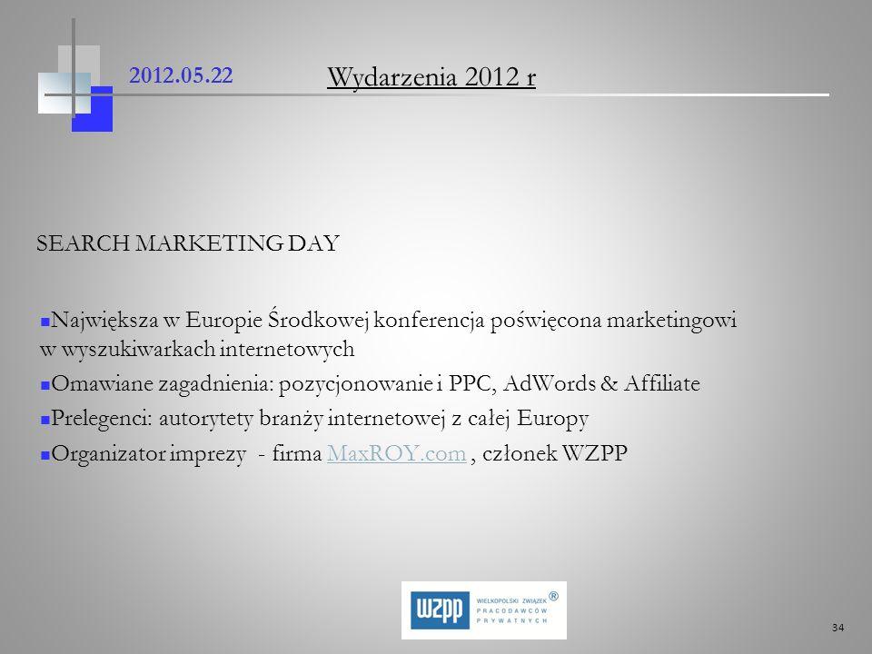 34 2012.05.22 SEARCH MARKETING DAY Największa w Europie Środkowej konferencja poświęcona marketingowi w wyszukiwarkach internetowych Omawiane zagadnie
