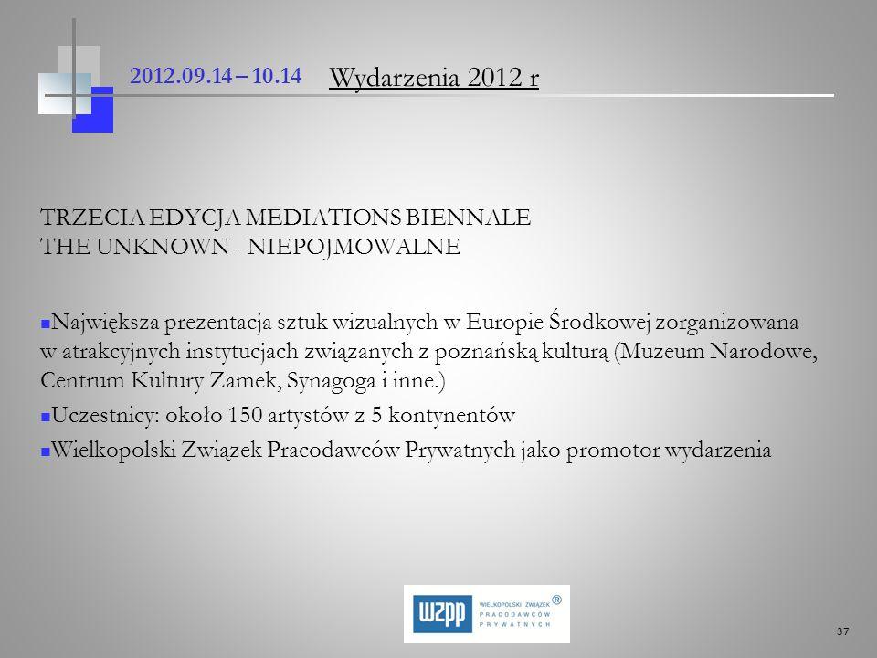 37 2012.09.14 – 10.14 TRZECIA EDYCJA MEDIATIONS BIENNALE THE UNKNOWN - NIEPOJMOWALNE Największa prezentacja sztuk wizualnych w Europie Środkowej zorga