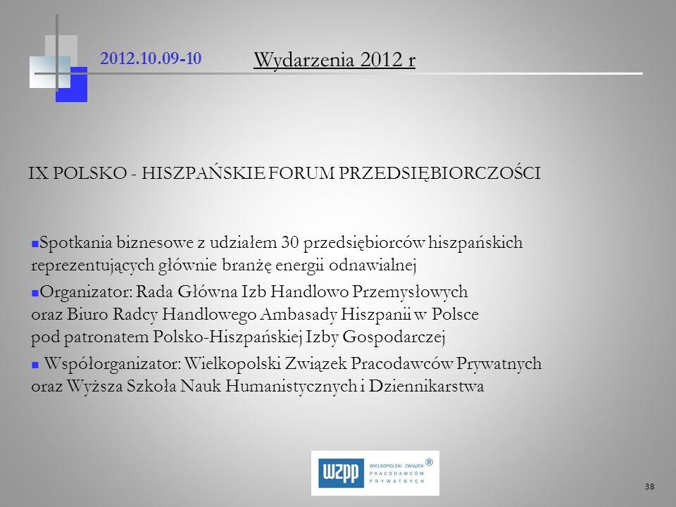 38 2012.10.09-10 IX POLSKO - HISZPAŃSKIE FORUM PRZEDSIĘBIORCZOŚCI Spotkania biznesowe z udziałem 30 przedsiębiorców hiszpańskich reprezentujących głów