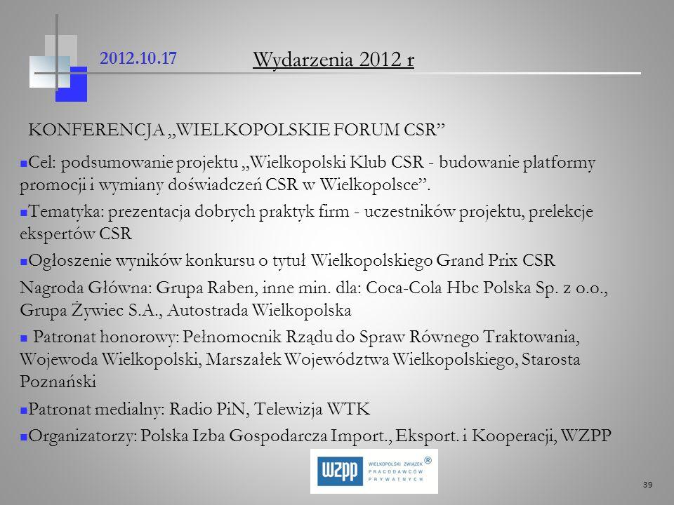 39 2012.10.17 KONFERENCJA WIELKOPOLSKIE FORUM CSR Cel: podsumowanie projektu Wielkopolski Klub CSR - budowanie platformy promocji i wymiany doświadcze