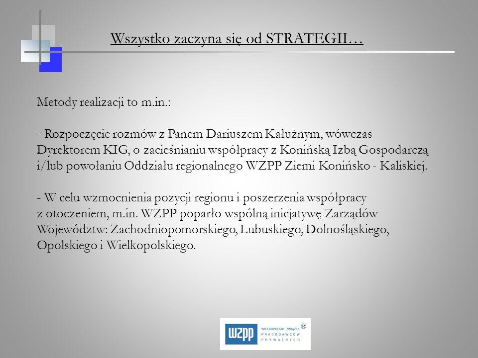 Metody realizacji to m.in.: - Rozpoczęcie rozmów z Panem Dariuszem Kałużnym, wówczas Dyrektorem KIG, o zacieśnianiu współpracy z Konińską Izbą Gospoda