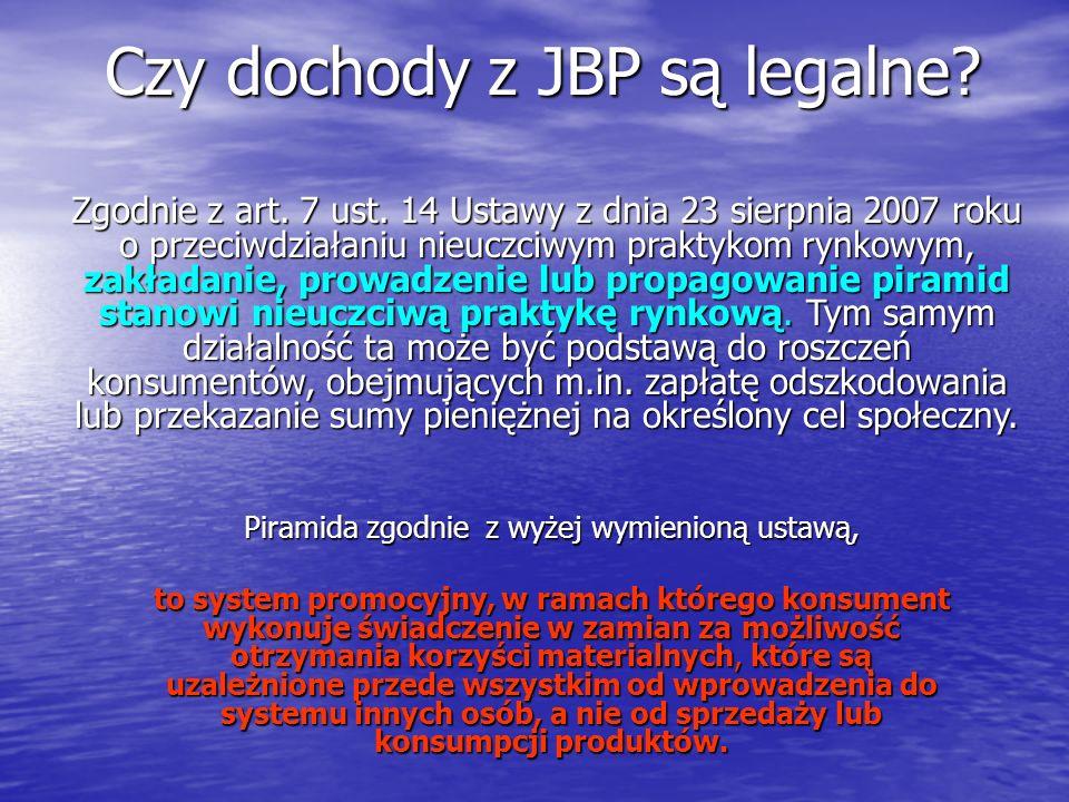 Czy dochody z JBP są legalne? Piramida zgodnie z wyżej wymienioną ustawą, to system promocyjny, w ramach którego konsument wykonuje świadczenie w zami