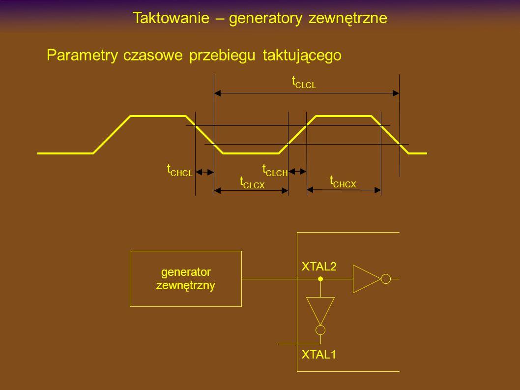 Taktowanie – generatory zewnętrzne Parametry czasowe przebiegu taktującego t CLCL t CHCX t CLCX t CHCL t CLCH XTAL2 XTAL1 generator zewnętrzny